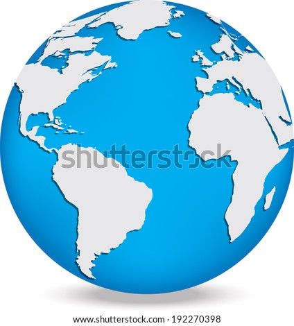 Globe with white continents and blue oceans Vector illustration