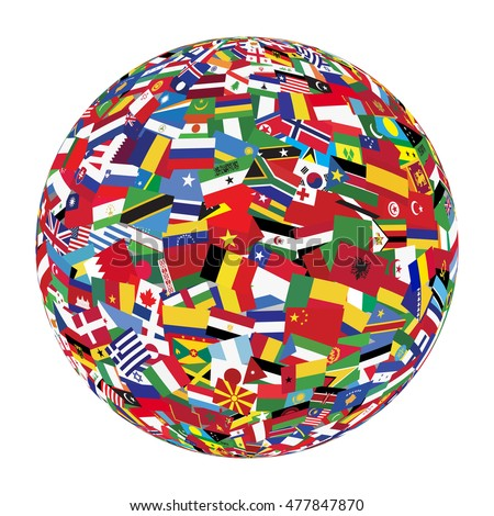 Globe with world flags isolated on white background