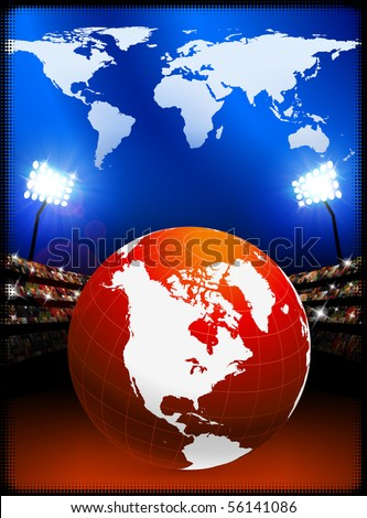 Globe with World Map on Stadium Background Original Illustration