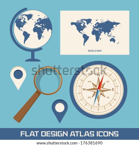 Globe world map magnifying glass compass stock vector 176381690 globe world map magnifying glass compass and pointer flat design icons i gumiabroncs Gallery