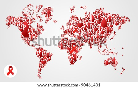 Globe World map silhouette made with AIDS icon set. Vector file available - stock vector