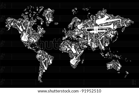Globe World map silhouette made with musical instruments icon set in black background. Vector file available - stock vector