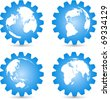 Globes and gears vector icons - stock vector