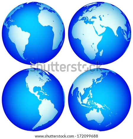 Globes collection for various design. Globes are located in different layers  - stock vector