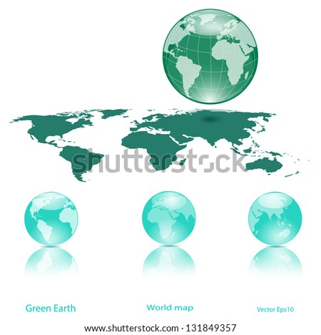 Globes Of Earth And Lanmass Isolated on White,Ecology concept