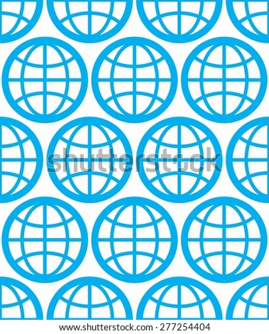 Globes seamless vector background, planets conceptual symbols. Repeated backdrop with blue Earth symbols, geographic idea.  - stock vector