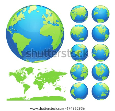 Globes showing earth all continents digital stock vector 674962936 globes showing earth with all continents digital world globe vector dotted world map vector gumiabroncs Images