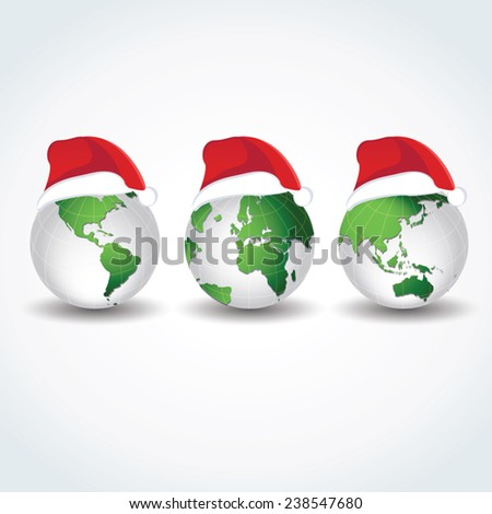 Globes with Christmas hats. Joy to the world.  - stock vector