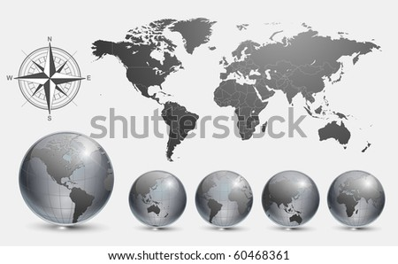 Globes with world map vector. - stock vector