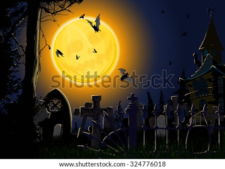 Gloomy Halloween card showing the full moon in the form of pumpkin, forest and the cemetery with the lone old house - stock vector