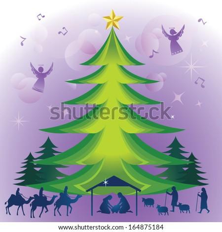 Glory of Christmas. Vector illustration of Christmas trees and the traditional Christian Christmas Nativity scene. - stock vector