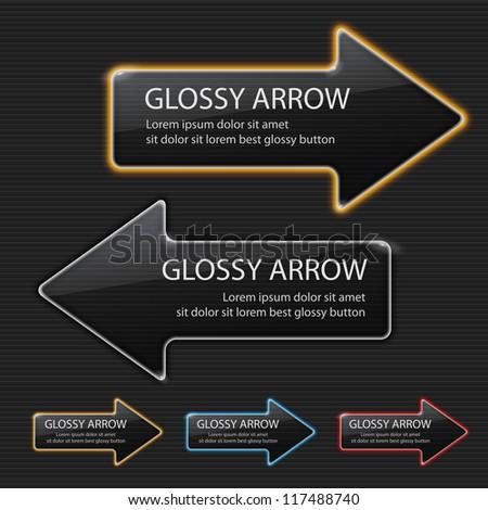 Glossy arrow on black background - stock vector