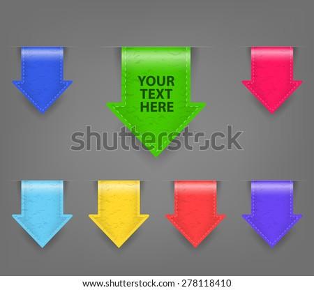 Glossy Arrow ribbon colored set - stock vector