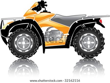 Glossy ATV reflection Icon - stock vector