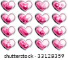 Glossy baby girl buttons (vector); a JPG version is also available - stock photo