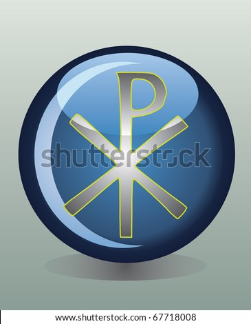 Glossy badge with Christian Chi Rho symbol - stock vector