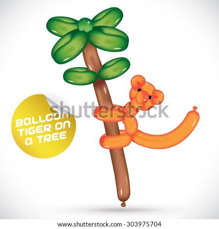 Glossy Balloon Tiger On a Tree Illustration  - stock vector