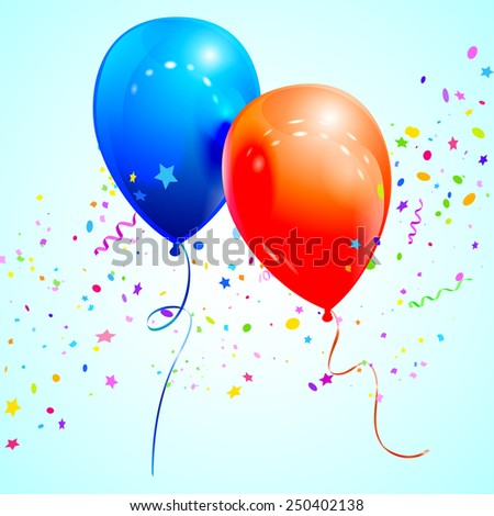 Glossy balloons and confetti. Vector illustration for congratulatory cards. - stock vector