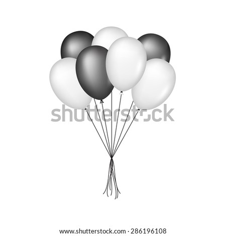 Glossy balloons in black and white design - stock vector