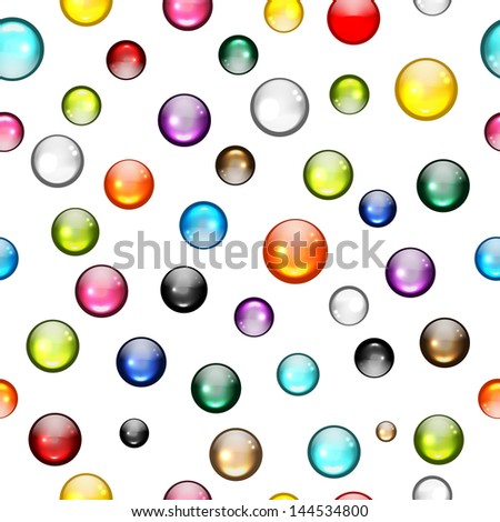 Glossy balls seamless pattern for your design - stock vector