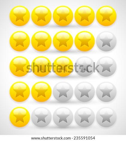 Glossy balls star rating. 5 star rating vector. - stock vector