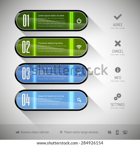 Glossy banners on the gray background. Design elements - moderns buttons. - stock vector