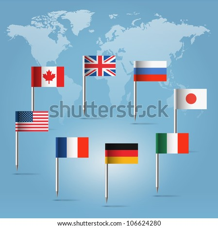Glossy  beautiful pin flags of Canada, Germany, Russia, UK, Italy, France, USA and Japan hanging in round over light blue world map silhouette - stock vector
