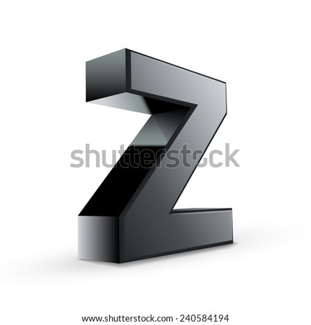 glossy black alphabet Z isolated on white background