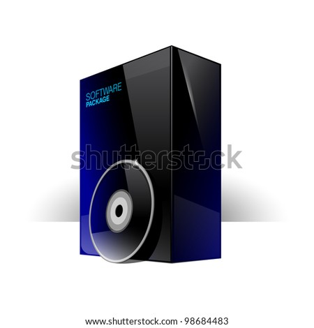 Glossy black box with blue reflexes and dvd or cd Disk.