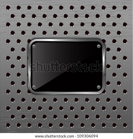 Glossy black plate on a metallic perforated background. - stock vector