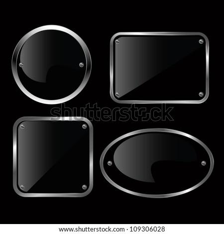Glossy black plate set illustration. - stock vector