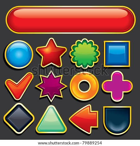 Glossy Blank Design Elements, Figures, Button and Icon Templates - stock vector