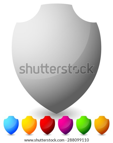 Glossy, blank shield shapes. Several colors included. (Green, blue, yellow, red...) - stock vector