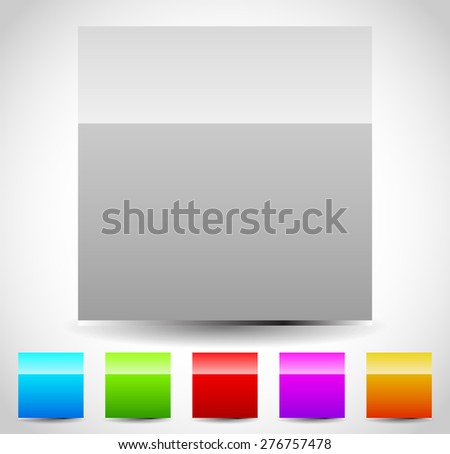 Glossy blank square icons. 5 colors included. Blue, green, red, purple, orange and gray squares with isolated gloss effect. Editable vector. - stock vector