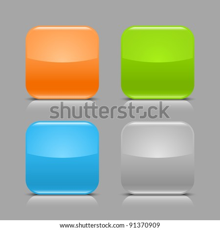 Glossy blank web internet button with black shadow and white reflection. Colored rounded square shapes on gray light background. This vector illustration created and saved in 8 eps - stock vector