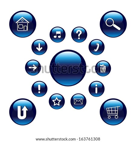 Glossy blue buttons with symbols. Set. Vector art.. - stock vector