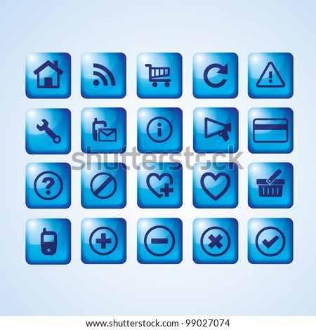 Glossy blue icon set for web websites - stock vector