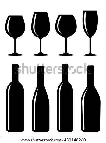 glossy bottle and glass set icon on white background