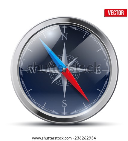 Glossy Bright Vintage Compass analog dark dial in a metal case with wind rose. Vector Illustration. - stock vector