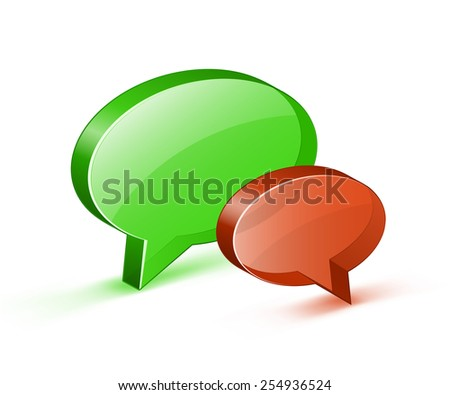 Glossy bubbles icon. Vector illustrations of chat or online support concept - stock vector