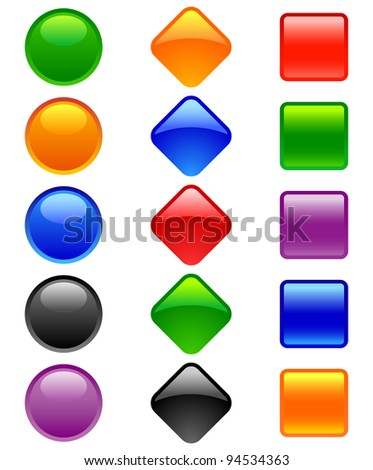 Glossy Button, - stock vector