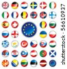 Glossy button flags - Europe. 38 Vector icons. Original size of EU flag in down right corner. - stock vector