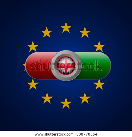 Glossy button with British flag - stock vector