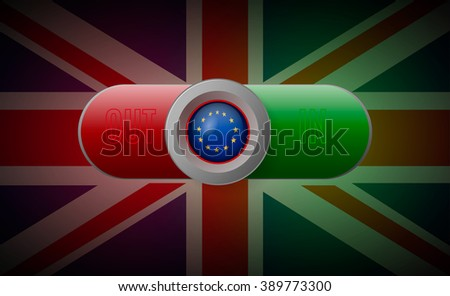 Glossy button with European Union flag - stock vector