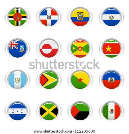 Glossy Buttons - American Flags - stock vector