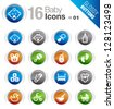 Glossy Buttons -  Baby icons - stock vector