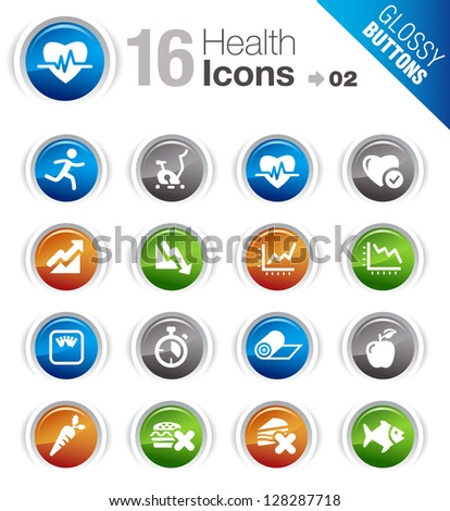 Glossy Buttons - Health and Fitness icons - stock vector