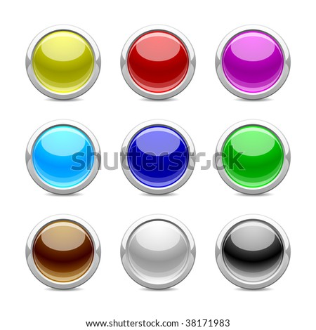 glossy buttons in different color on  white background