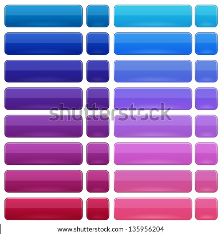 Glossy buttons in 2 states, Over and Down - stock vector