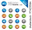 Glossy Buttons - Italian Icons - stock vector